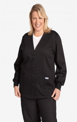 WJF350 MOBB Button Front Fleece Warm-up Jacket - Black (BL)