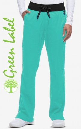 9143 - Healing Hands Scrubs Green Label Kaylee Knit Waist Cargo Pant - Black