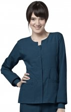 8114 WonderWink Four-Stretch Button Front Scrub Jackets - Caribbean