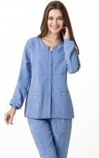 8114 WonderWink Four-Stretch Button Front Scrub Jackets - Ceil Blue