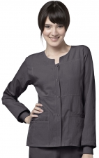 8114 WonderWink Four-Stretch Button Front Scrub Jackets - Graphite