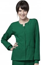 8114 WonderWink Four-Stretch Button Front Scrub Jackets - Hunter Green