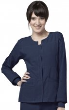 8114 WonderWink Four-Stretch Button Front Scrub Jackets - Navy