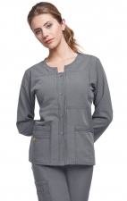 8114 WonderWink Four-Stretch Button Front Scrub Jackets - Pewter