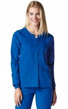 8114 WonderWink Four-Stretch Button Front Scrub Jackets - Royal