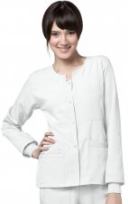8114 WonderWink Four-Stretch Button Front Scrub Jackets - White