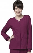 8114 WonderWink Four-Stretch Button Front Scrub Jackets - Wine
