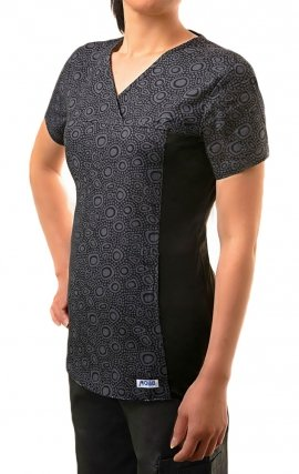 C324T Stone Medley 100% Cotton Print V-Neck Scrub Top by MOBB