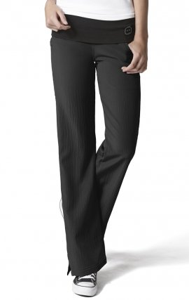 5514 WonderWink Four-Stretch Knit Waist Yoga Scrub Pants - Black