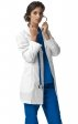 7004 WonderWink Four-Stretch 32 Inch Three Button Lab Coats - Black