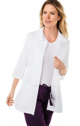 446 Koi Amber 3/4 Sleeve Women's Lab Coats - White