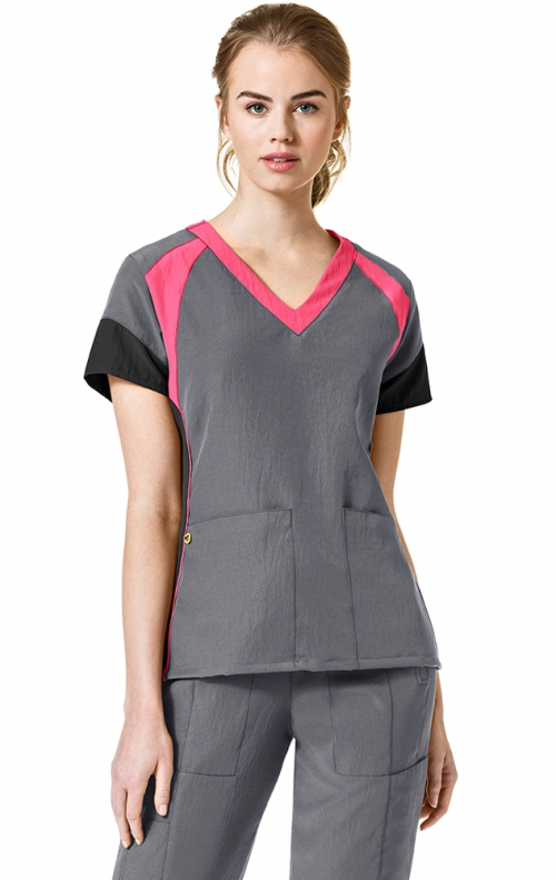 6814 Wonderwink Four Stretch Color Block V Neck Scrub