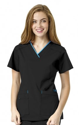 6508 WonderFlex Peace Contrast V-neck Scrub Tops - Black
