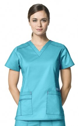 6108 WonderFlex Verity Stretch V-neck Scrub Tops - Aqua