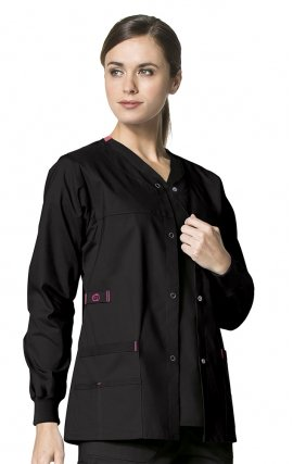 8108 WonderFlex Constance Snap Scrub Jacket - Black
