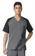 6818 WonderFlex Men's Color Block V-neck Scrub Tops - Black