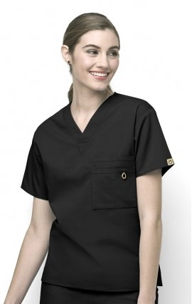 6006 WonderWink Origins Alpha Unisex Scrub Tops - (Women's View) - Black