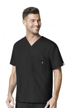6006 WonderWink Origins Alpha Unisex Scrub Tops - (Men's View) - Black
