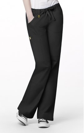 5046 WonderWink Origins Tango Drawstring With Elastic Waist Scrub Pants - Black
