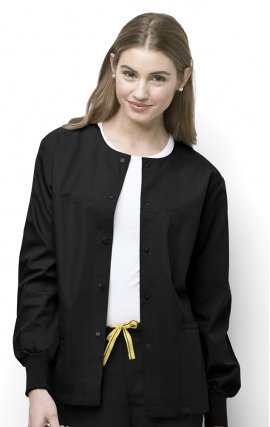 8006 WonderWink Origins Delta Unisex Round Neck Scrub Jackets - (Women's View) - Black