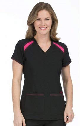 8545 Med Couture Activate Color Block V-neck Scrub Tops - Black