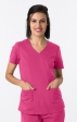 1100 Greentown's Stretch Y-neck Scrub Top