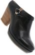 Dansko Malissa Bootie Leather Stacked Heel - Black Burnished Calf