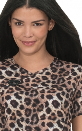 352PR koi Serena Criss-cross Top Print: Real Leopard