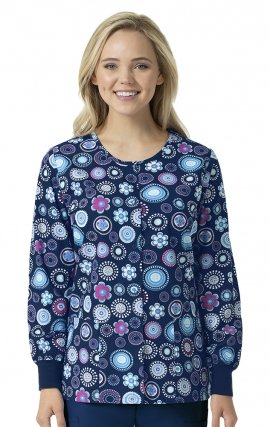 Floral Eclipse - Zoe + Chloe Round Neck Print Warm Up Scrub Jacket