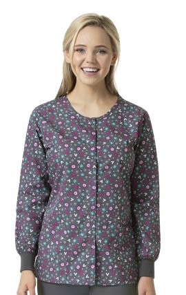 Heartfelt - Zoe + Chloe Round Neck Print Warm Up Scrub Jacket