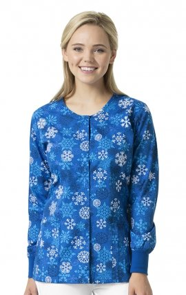 Snowfall - Zoe + Chloe Round Neck Print Warm Up Scrub Jacket