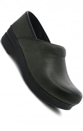 Moss Burnished Nubuck Leather Clog by Dansko Professional