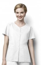 200 WonderWORK Women's Short Sleeve Snap Front Scrub Top