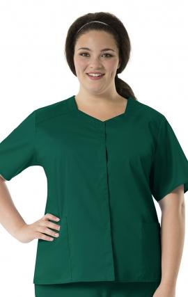 200 WonderWORK Women's Short Sleeve Snap Front Scrub Top