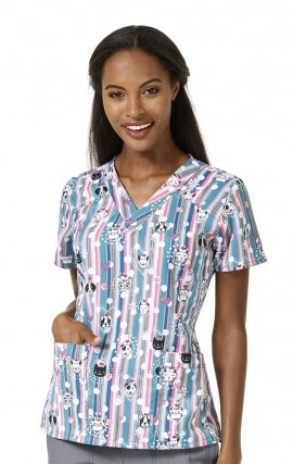 6217 Fetching Friends WonderWink Four-Stretch V-neck Print Scrub Tops