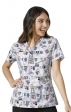 6217 Scrub-A-Dub WonderWink Four-Stretch V-neck Print Scrub Tops