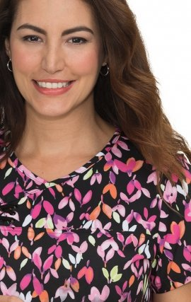 *FINAL SALE 352PR koi Serena Criss-cross Top Print: Colorful Buds