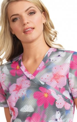 *FINAL SALE 350PR koi Lite™ Bliss Print Crossover Scrub Top - Pink Punch