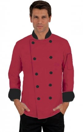 CC250 RED-BLACK Classic Chef Coat - Men's View