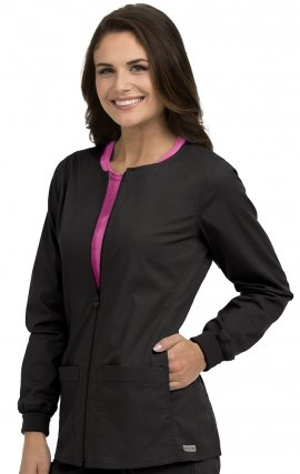 8687 Med Couture In-Seam Zip Front Warm Up Scrub Jackets