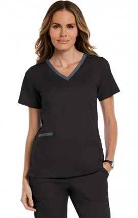 3502 Matrix Both Side Contrast V-Neck Top - Maevn
