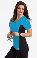 Flexi V-Neck Scrub Top by MOBB - Aqua (AQ)