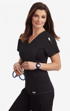 Flexi V-Neck Scrub Top by MOBB - Black (BL)