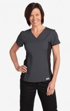 Flexi V-Neck Scrub Top by MOBB - Charcoal (CC)