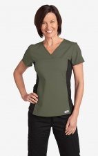 Flexi V-Neck Scrub Top by MOBB - Olive (OL)