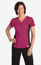 Flexi V-Neck Scrub Top by MOBB - Raspberry (RA)