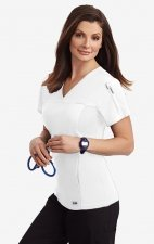 Flexi V-Neck Scrub Top by MOBB - White (WH)