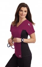 324T Flexi V-Neck Scrub Top by MOBB - Burgundy (BU)