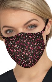 BA157 koi Cloth Scrub Face Mask - Ditsy Floral Raspberry - PM2.5 Replaceable Filter