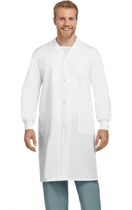 """AVLC02 Full-Length 42"""" Unisex Lab Coat Snap-Front With Knitted Cuffs - Men's View"""